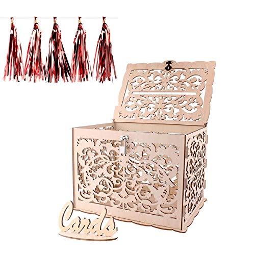 Boîte à cartes de mariage en bois de bricolage, ANSUG boîte aux lettres de carte de mariage creuse avec verrou et panneau de carte pour les mariage,fête, baby showers - 30 x 24 x 21 cm