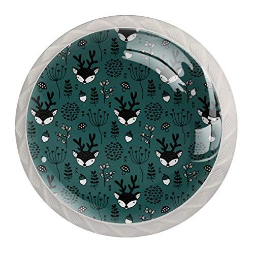 Schubladengriffe ziehen für Home Kitchen Dresser Wardrobe-Winter Wald Rentier Waldhirsch Thema Teal