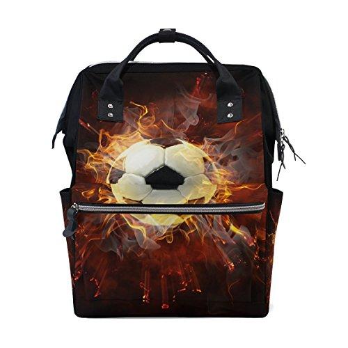 tizorax Flamy Fußball Symbol Windel Rucksack Große Kapazität Baby-Bag Multifunktions-Wickeltaschen Mom Rucksack Reisen für Baby Care