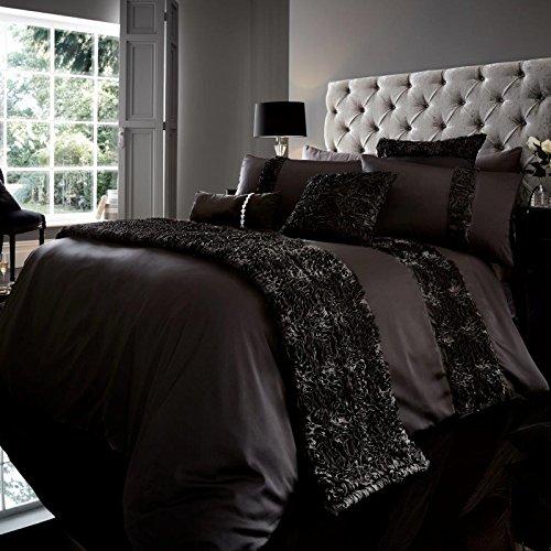 Just Contempo - Bettbezug-Set, verziert mit Pailletten, Polyester, White Pintuck, Einzelbett