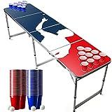 Set da Tavolo da Beer Pong Ufficiale Player   1 Tavolo + 120 Coppe (60 Blu & 60 Rosso) + 6 Palle   Kit Completo   Gioco da Bere   OriginalCup®