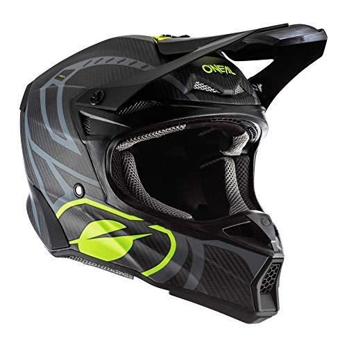 O\'NEAL | Motorrad-Helm | Motocross, Enduro | Leichte Kohlefaserschale, Sicherheitsnormen ECE 22.05, Inklusive Helmtasche | 10SRS Carbon Helmet Race Unisex | Erwachsene | Schwarz Neon-Gelb | Größe M