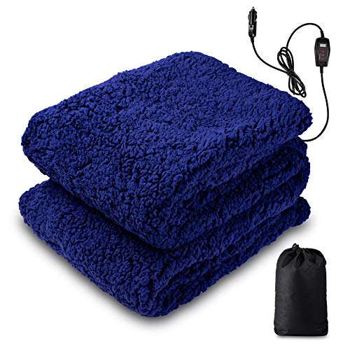 """Zento Deals Sherpa Thermal Heated Travel Blanket, Soft Plush Warm Fuzzy with Temperature Control –Fire Proof, Overheat Protection 60""""x 50"""", for Home, Car, or Office"""
