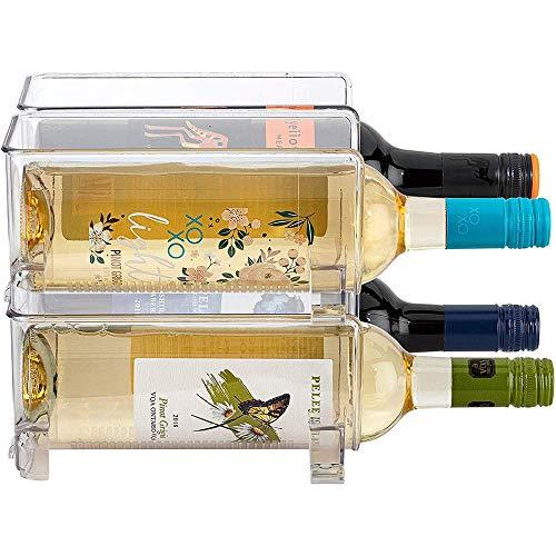 YWYW Estante de Almacenamiento de Vino apilable de 2 Piezas, Organizador de Soporte de Botella de Vino Independiente para refrigerador o encimera de Cocina