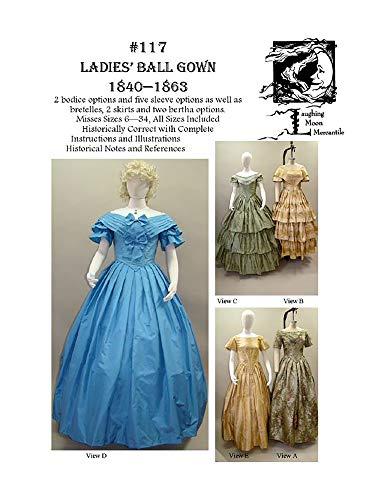 Sewing Pattern Laughing Moon 117 - LM 117 : 1840-1863 Ladies Civil War Era Ball Gown Dress