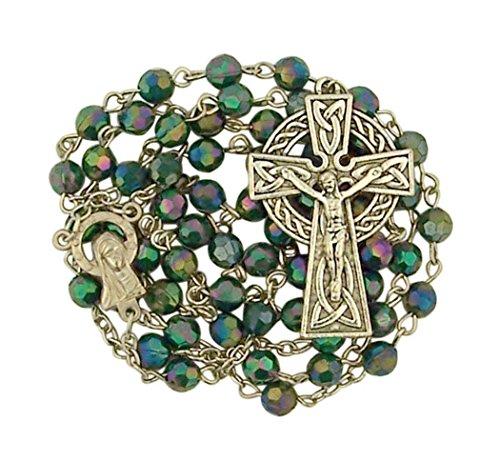 CB Green Acrylic Prayer Bead Irish Rosary with Celtic Cross Crucifix, 19 Inch
