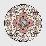 Lanqinglv Alfombra redonda, 120 cm, diseño de flores, para terrazas, bohemio, decorativa, salón, dormitorio, mandala estampada, alfombra redonda, 120 cm, estilo indio, vintage, boho