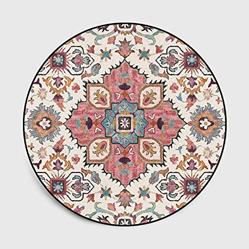 Lanqinglv Alfombra redonda de 120 cm, multicolor, con estampado de flores, para terrazas, para salón, dormitorio, mandala, redonda