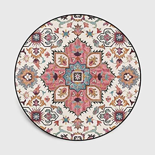 Lanqinglv - Alfombra redonda de 100 cm, diseño de flores bohemias, decoración para salón, dormitorio, mandala estampada, alfombra redonda, vintage, boho, para interior y exterior