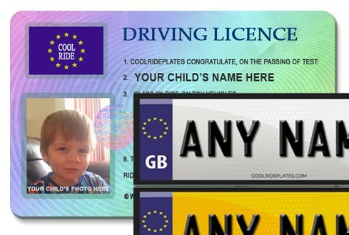 Coolrideplates Ride-on Car Personalisation Set featuring Kids Number Plate Waterproof Vinyl Self-Adhesive Front & Rear Stickers For Ride-on Cars and Personalised Photo Driving Licence