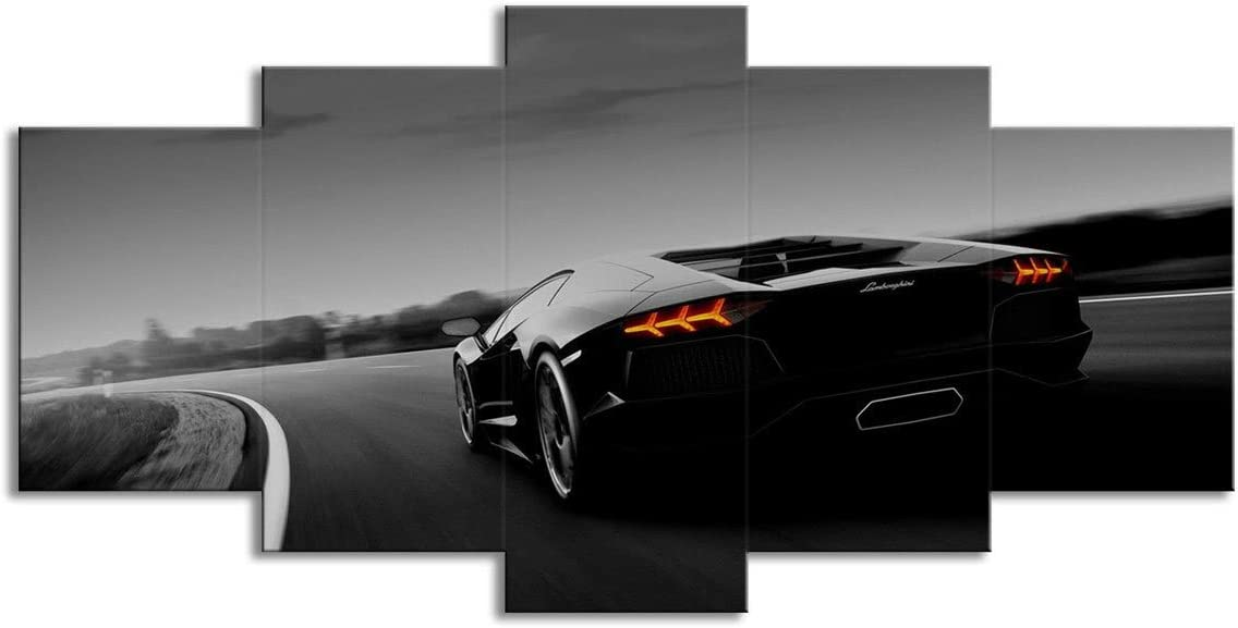 Amazon Com 5 Panel Wall Art Black Lamborghini Sports Car Driving On The Road Canvas Print Oil Painting Wall Picture On Canvas For Home Decoration Living Room Modern Artwork Gift Piece Posters