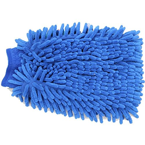 Meipro Car Wash Mitt,Premium Microfiber Chenille Large Size Handle Dust Cleaner,Diy Auto Wash Glove for Car and Household bleu