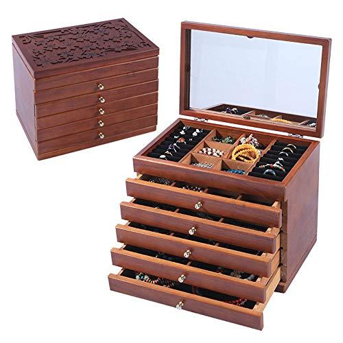 WSJTT Boîte en Bois véritable/boîte à Bijoux en Bois boîte à Bijoux en Miroir Organisateur de Stockage Multi-Grid Grande capacité Boîtes de Rangement pour ménage antipoussière