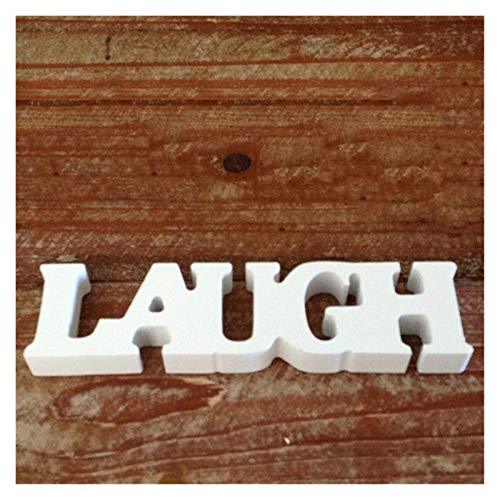 ZHJKK Letters Shaped Wood Decorative Crafts Home Table Wedding Party Creative Decorations White (Color : LAUGH)