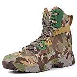 YUHAI Botas de Combate de la Selva de Camuflaje para los Hombres, Botas de Combate tácticas Impermeables Transpirables a Prueba de Agua Botas, Green Camouflage-40(UK 7.5)