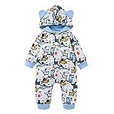 Verve Jelly Infant Newborn Baby Girl Boy Dog Animal Print Hoodie Outfit Mameluco de una pieza Mono infantil de manga larga Otoño Invierno Ropa Azul 1 90 12-18 meses