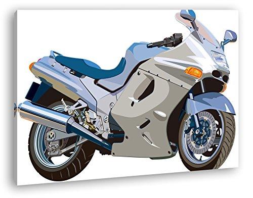 deyoli Skizze eines teuren Motorrads im Format: 80x60 als Leinwandbild, Motiv fertig gerahmt auf Echtholzrahmen, Hochwertiger Digitaldruck mit Rahmen, Kein Poster oder Plakat