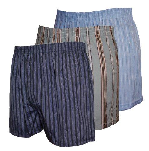 Hommes tissé imprimé Coton Polyester short boxer Sous-vêtement PK 3 - Gris/Bleus/Etc, XXXXL