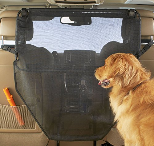 High Road Dog Car Barrier with Full View Mesh Cover and Padded Steel...