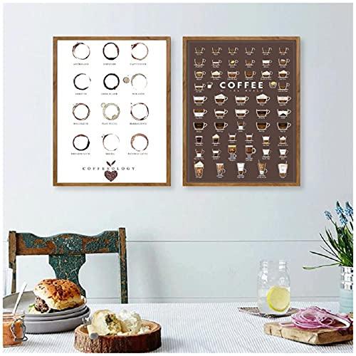 artaslf Tipos de café Impresiones de arte de pared y póster Tabla de café Espresso Lienzo Pintura Cocina Cafetería Decoración de la habitación- 50x70cmx2 Sin marco