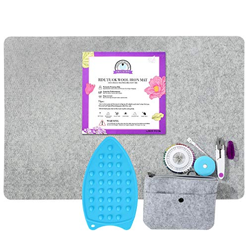 Rdutuok 24x17 Inches Wool Pressing Mat for Quilting Ironing Pad Easy Press Wooly Felted Iron Board for Retains Heat, Great for Quilting & Sewing Projects