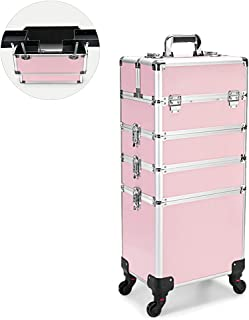 Cosmetic Cases Professional Rolling Makeup Artist Case Travel Makeup Trolley Cosmetic Case Beauty Train Organizer Box with Lock