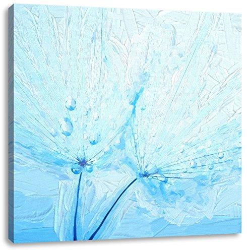 Blauw plant met water kralenCanvas Foto Plein | Maat: 60x60 cm | Wanddecoraties | Kunstdruk | Volledig gemonteerd