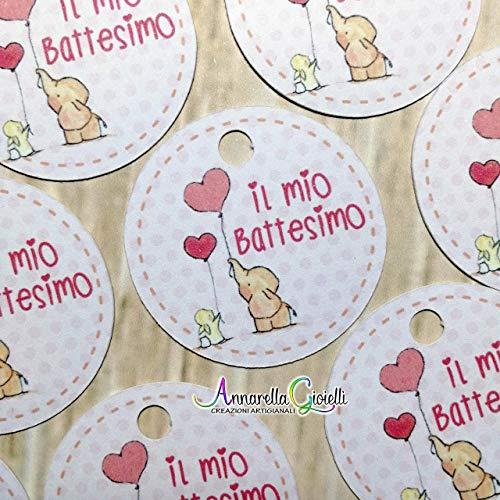 bimbo nascita battesimo cuori 30x35 mm tag compleanno CARTELLINI STAMPATI bomboniere grazie bigliettino confettata cresima bomboniere cuore comunione etichette