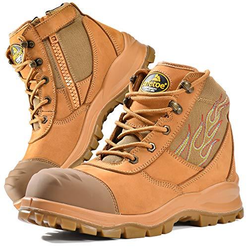 Safetoe Zapatos de Seguridad para Hombres y Mujeres, M-8501 Botas de Seguridad Modelo de Cuero Impermeable, Material de la Puntera Calzado Ligero Acerol Point, Zapatillas para Plantilla Tamaño EU 40