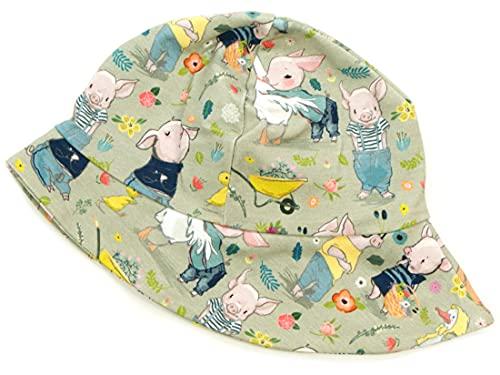 Kleine Könige Sonnenhut Sommer Mütze Baby Jungen · Modell Gans Schweinchen Piggy Oliv · Ökotex 100 Zertifiziert · Größe 98/104