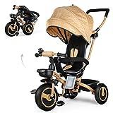 Fascol 4 en 1 Tricycle Bebe Evolutif, Poussette Pliable avec Roue en Caoutchouc Silencieuse et Siège Réversible à 360 ° pour...