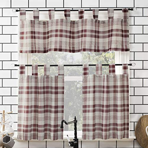 "No. 918 Blair Farmhouse Plaid Semi-Sheer Tab Top Kitchen Curtain Valance and Tiers Set, 52"" x 24"" 3-Piece, Red/Ecru Off-White"