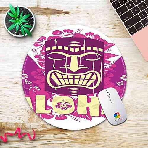 Runde Mauspad mit Tiki Bar Dekor Tiki Kultur Figur Surfbretter Hibiskus Hand gezeichnet Aloha Hot Pink Lila Hellgelb