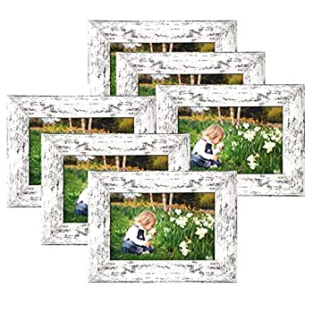 4x6 Picture Frames Wood Pattern Distressed White Photo Frames Packs 6 with High Definition Real Glass for Tabletop or Wall Decor