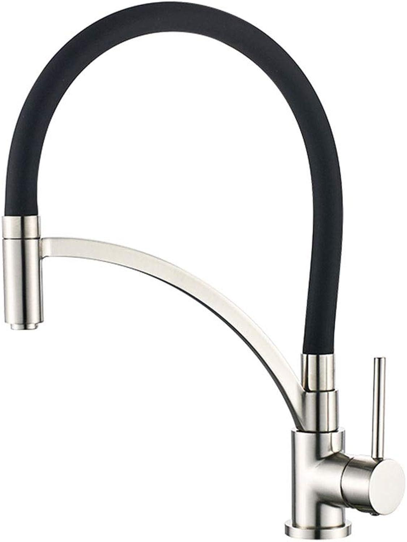 SUA_ONG Küchenarmaturen Spültischarmatur Wasserhahn, Spültischmischer, Wasserhahn Ausziehbar, mit schwarzem Silikon-Weichschlauch, Doppelfunktionsspritze (Farbe   Dark Farbe)