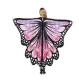 chaochao Chal de Alas Mariposa para Mujeres Accesorio para Cosplay Disfraz Halloween Fiesta Bufanfa Alas de Mariposa Multicolores (Rosa, 135cm*168cm)