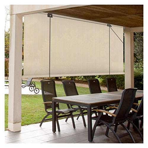 XJJUN Exterior Roller Shade, Privacy Screen, Waterproof, Cooling, 90% UV Resistance, For Balcony Terrace Deck Pergola Gazebo (Color : Beige, Size : 0.6x2m)