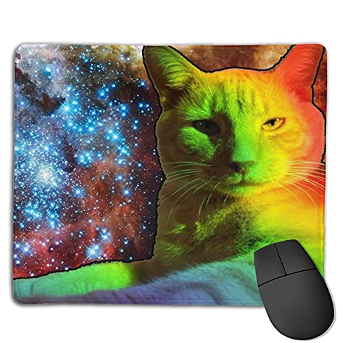 Alfombrilla de ratón Rainbow Space Cat con Bordes cosidos, Alfombrilla de ratón con Base Antideslizante, Adecuada para el Trabajo, Juegos, Oficina, hogar, 25x30cm