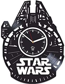 Kovides Vinyl Record Wall Clock, The Force Awakens, Gift for Husband, Birthday Gift, Star Wars, Yoda, Han Solo, Best Gift for Boyfriend, Movie, Silent, Wall Clock Vintage, Gift for Kids
