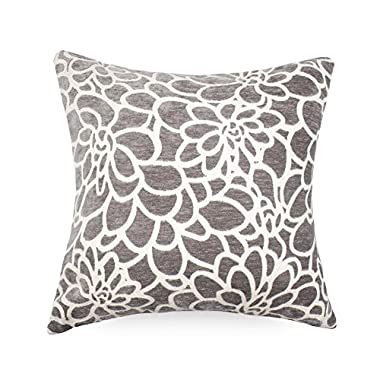 1 Piece Throw Pillow Covers Coastal Cushions 100% Cotton Home Decorative 18 x 18 inch Soft Pillow Case Covers Invisible Zipper Decorative Pillow Case No Pillow Insert Furniture Cushions 02 (1pc-Grey)