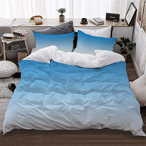 Li Da Sen Duvet Cover Set,Ombre Skyscape for Blue Lovers,Quilt Cover Set with Zipper Closure,Super Soft Bedding Sets