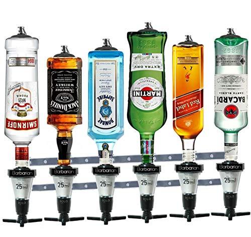 Barbarian 6 Flaschenoptik für Spirituosen - Bar Butler 30ml Shot Messung Halterung Alkohol getränkespender getränkeportionierer flaschenhalter wand Männerhöhle