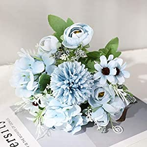 7 Heads Hydrangea Flowers Artificial Bouquet Silk Blooming Fake Peony Bridal Hand Flower Roses Wedding Centerpieces Decor,Blue daisy