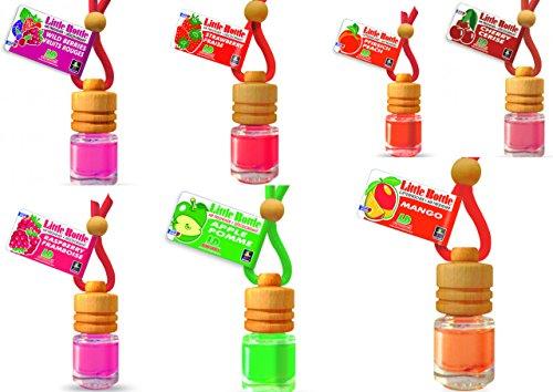 LD 7 Stück Elegante Duftflakons fürs Auto Autoduft Lufterfrischer Obstgarten Apfel, Erdbeere, Himbeere, Kirsche, Mango, Pfirsich, Waldbeere