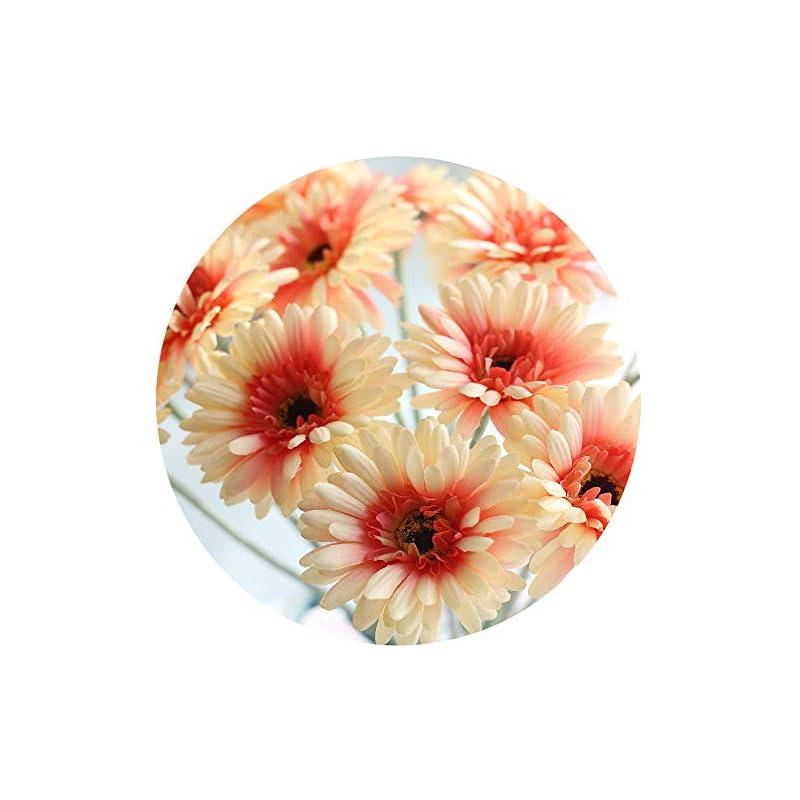 silk flower arrangements cn-knight artificial flower 12pcs 22'' long stem silk daisy faux mums flower chrysanth gerbera for wedding bridal bouquet bridesmaid home decor office baby shower prom centerpiece(princess peach)