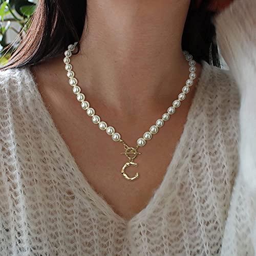 WYBXZ Collares con Letras de Perlas simuladas para Mujer, Cadena de Perlas con 26 Letras mayúsculas, Collar con Colgante de Alfabeto, joyería de Aniversario y cumpleaños, Regalos para Madre Esposa