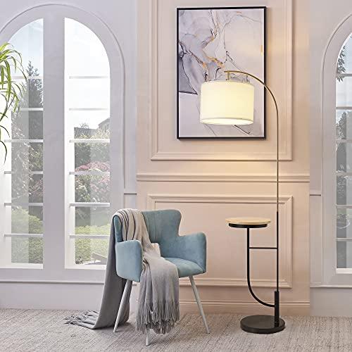 Versanora, Danna Arc - Lámpara de pie (35 x 35 x 165 cm, metal, con puerto USB, mesa de madera y base de mármol, sala de estar, blanco/oro/negro, VN-L00071W-UK