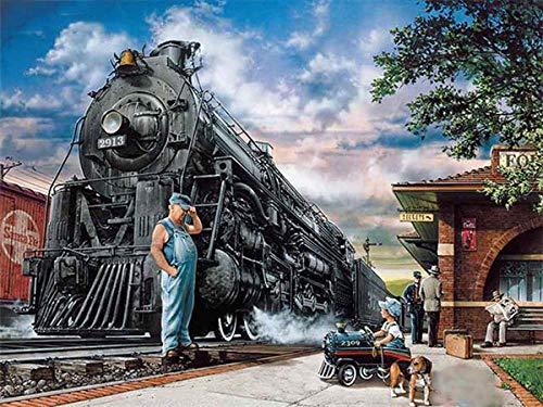 HONGTT Rompecabezas 1000 Piezas Tren Descompresión para Adultos Niños Vacaciones Ocio Rompecabezas Familia Regalo Interactivo Amigos 75 * 50 cm