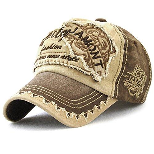 Tioamy Baseball Kappe Basecap Unisex einstellbare Retro Baseball Hut Freizeit Cap modischste Cotton Cap Schreiben Outdoor Hut, Einheitsgröße, Kaffee