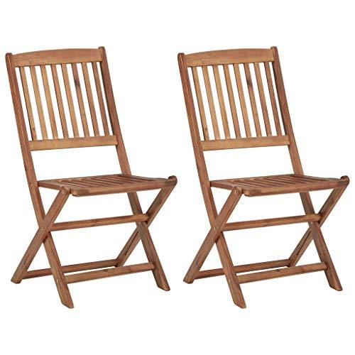 Festnight Klappbare Gartenstühle 2 STK. Massivholz Akazie Dining Chair Wood Garden Furniture 48,5 x 57 x 91 cm